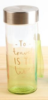 "2099A:380ML БУТЫЛКА ""To travel-is to live""_grn"